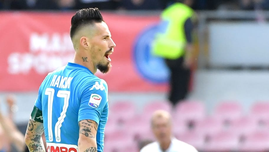 Napoli's midfielder from Slovakia Marek Hamsik celebrates after scoring a goal during the Italian Serie A football match between Napoli and Torino at the San Paolo Comunal Stadium in Naples, on May 6, 2018. (Photo by Andreas SOLARO / AFP)        (Photo credit should read ANDREAS SOLARO/AFP/Getty Images)