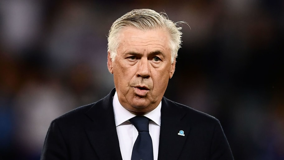 Napoli's Italian coach Carlo Ancelotti looks on prior to the Italian Serie A football match Sampdoria vs Napoli on September 2, 2018 at the Luigi Ferraris Stadium in Genoa. (Photo by MARCO BERTORELLO / AFP)        (Photo credit should read MARCO BERTORELLO/AFP/Getty Images)