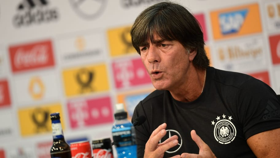 German national football team head coach Joachim Loew gives a press conference at the Rungghof training center on May 24, 2018 in Girlan, near Bolzano, northern Italy. The 'Mannschaft' will stay till June 7, 2018 in Rungghof to train before Russia's World Cup 2018. (Photo by MIGUEL MEDINA / AFP)        (Photo credit should read MIGUEL MEDINA/AFP/Getty Images)