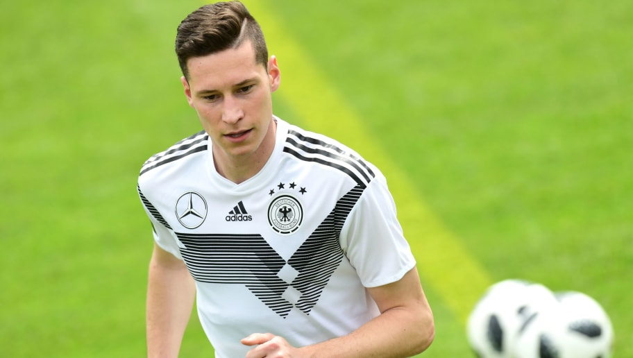 German national football team midfielder Julian Draxler takes part in a training session at the Rungghof training center on May 24, 2018 in Girlan, near Bolzano, northern Italy. The 'Mannschaft' will stay till June 7, 2018 in Rungghof to train before Russia's World Cup 2018. (Photo by MIGUEL MEDINA / AFP)        (Photo credit should read MIGUEL MEDINA/AFP/Getty Images)