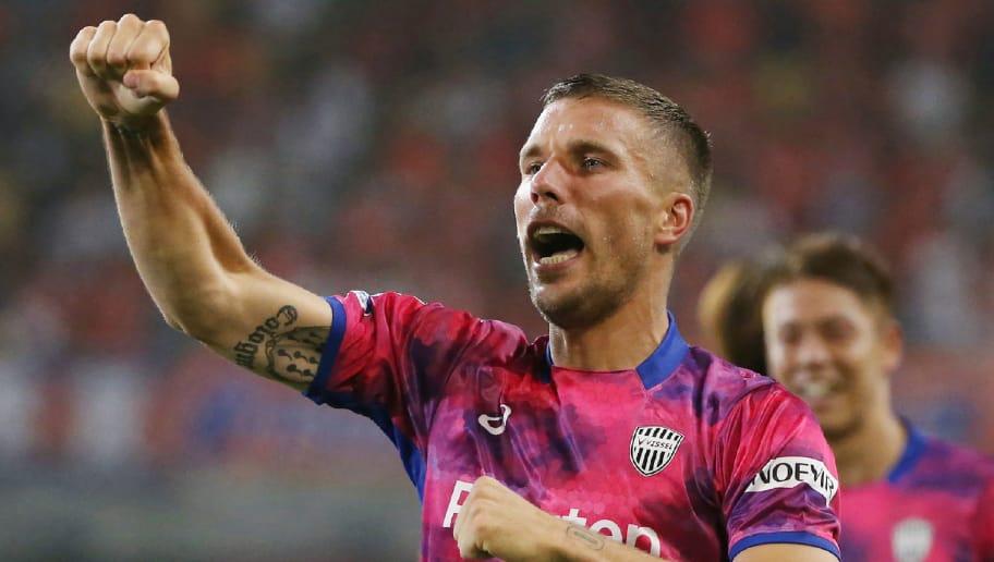 Vissel Kobe's Lukas Podolski of Germany celebrates scoring his first goal during his J-League football match against Omiya Ardija in Kobe on July 29, 2017. / AFP PHOTO / JIJI PRESS / STR / Japan OUT        (Photo credit should read STR/AFP/Getty Images)