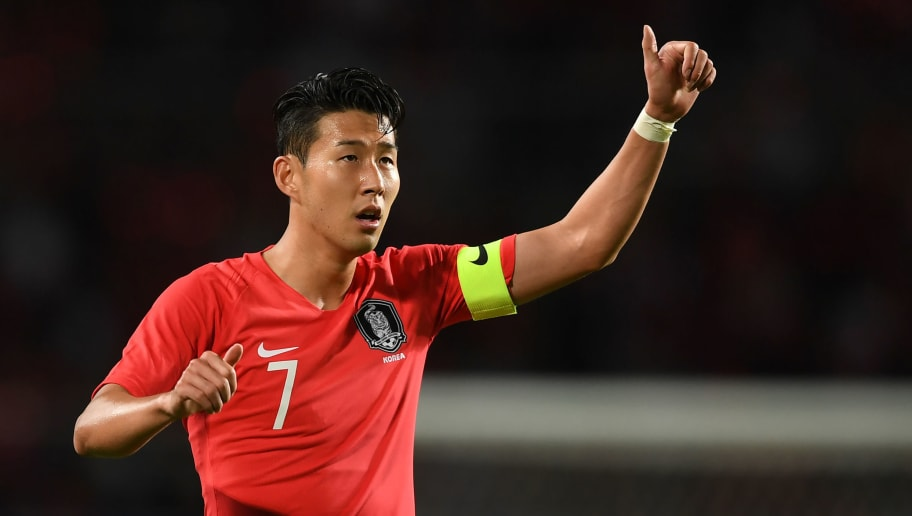 South Korea's Son Heung-min gestures during a friendly football match between South Korea and Costa Rica in Goyang, north of Seoul, on September 7, 2018. (Photo by Jung Yeon-je / AFP)        (Photo credit should read JUNG YEON-JE/AFP/Getty Images)