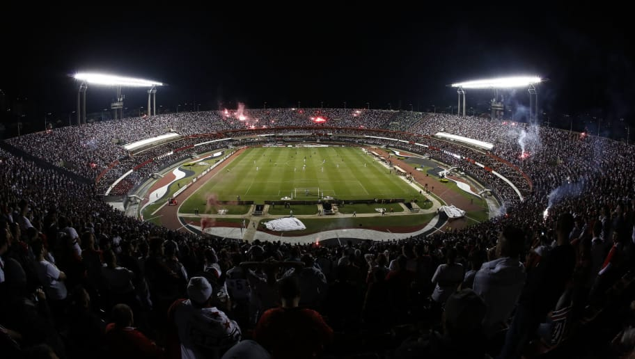 View of the stadium during the Colombia's Atletico Nacional and Brazil's Sao Paulo 2016 Copa Libertadores semi final first leg football match at Morumbi stadium, in Sao Paulo, Brazil, on July 6, 2016. / AFP / Miguel Schincariol        (Photo credit should read MIGUEL SCHINCARIOL/AFP/Getty Images)