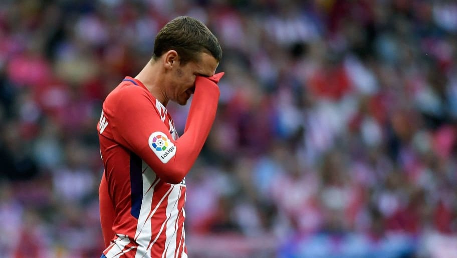 Atletico Madrid's French forward Antoine Griezmann reacts during the Spanish league football match between Club Atletico de Madrid and SD Eibar at the Wanda Metropolitano stadium in Madrid on May 20, 2018. (Photo by GABRIEL BOUYS / AFP)        (Photo credit should read GABRIEL BOUYS/AFP/Getty Images)