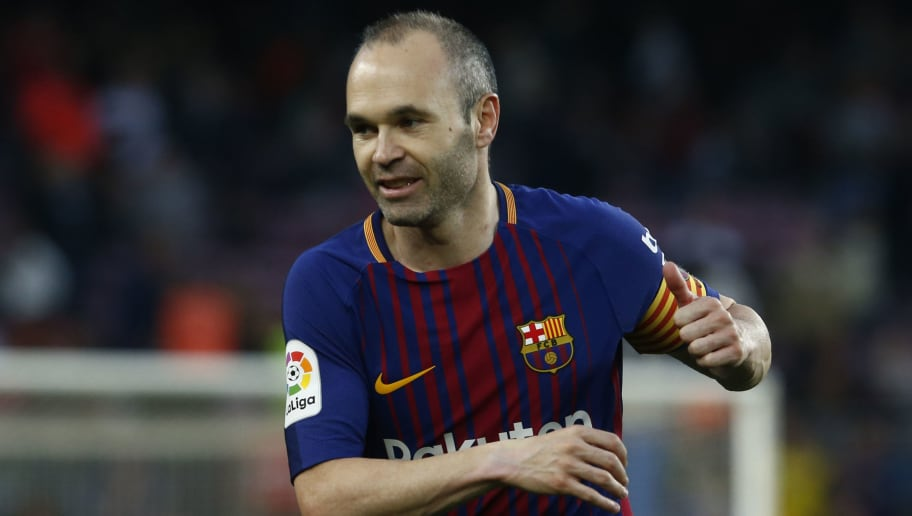 Barcelona's Spanish midfielder Andres Iniesta reacts during the Spanish league football match between Barcelona and Villarreal at the Camp Nou Stadium in Barcelona on May 9, 2018. (Photo by Pau Barrena / AFP)        (Photo credit should read PAU BARRENA/AFP/Getty Images)