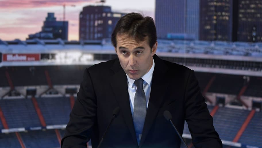 Real Madrid´s newly appointed coach Julen Lopetegui gives a speech during his official presentation at the Santiago Bernabeu stadium in Madrid on June 14, 2018. - Just a day after he was sacked on the eve of the World Cup, former Spain coach Julen Lopetegui arrived in Madrid to be officially presented as Real Madrid's new manager. (Photo by OSCAR DEL POZO / AFP)        (Photo credit should read OSCAR DEL POZO/AFP/Getty Images)
