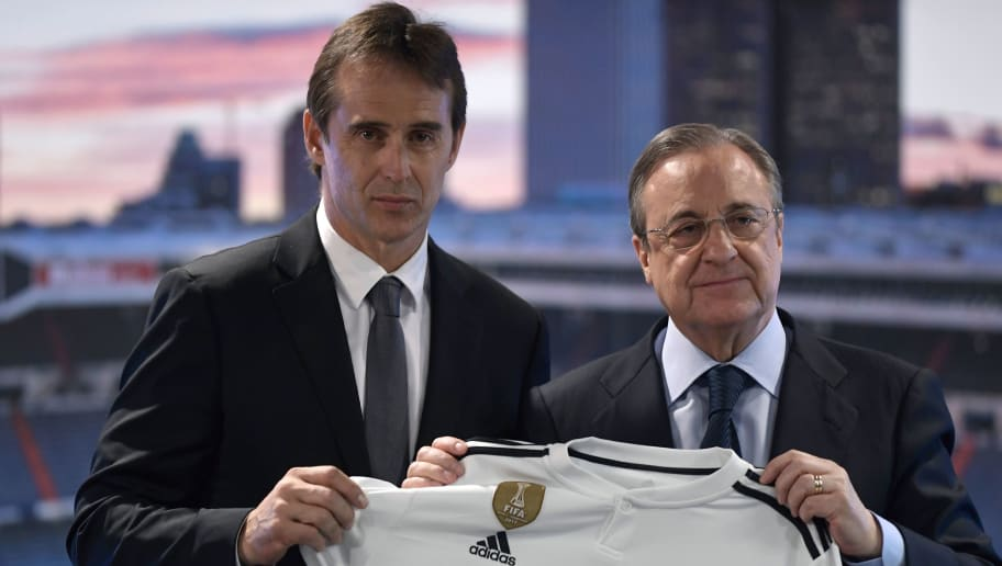Real Madrid´s newly appointed coach Julen Lopetegui (L) poses with Real Madrid's president Florentino Perez during his official presentation at the Santiago Bernabeu stadium in Madrid on June 14, 2018. - Just a day after he was sacked on the eve of the World Cup, former Spain coach Julen Lopetegui arrived in Madrid to be officially presented as Real Madrid's new manager. (Photo by OSCAR DEL POZO / AFP)        (Photo credit should read OSCAR DEL POZO/AFP/Getty Images)