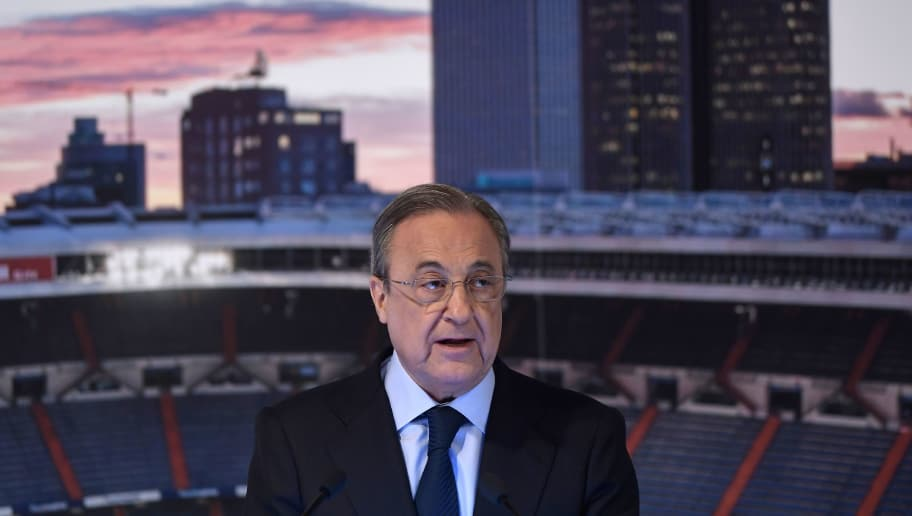 Real Madrid's president Florentino Perez gives a speech during the official presentation of Real Madrid´s newly appointed coach Julen Lopetegui at the Santiago Bernabeu stadium in Madrid on June 14, 2018. - Just a day after he was sacked on the eve of the World Cup, former Spain coach Julen Lopetegui arrived in Madrid to be officially presented as Real Madrid's new manager. (Photo by OSCAR DEL POZO / AFP)        (Photo credit should read OSCAR DEL POZO/AFP/Getty Images)