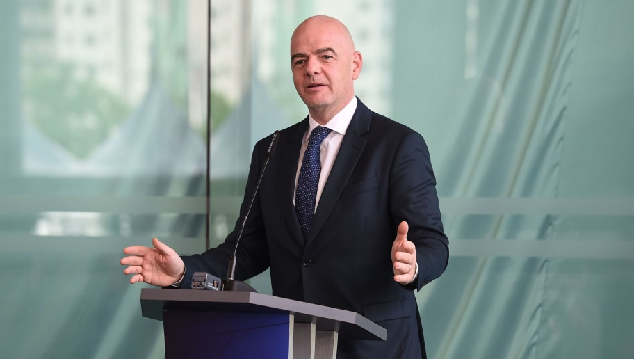FIFA president Gianni Infantino speaks during the inauguration of the Asian Football Confederation (AFC) new headquarters in Kuala Lumpur on October 30, 2018. (Photo by Mohd RASFAN / AFP)        (Photo credit should read MOHD RASFAN/AFP/Getty Images)