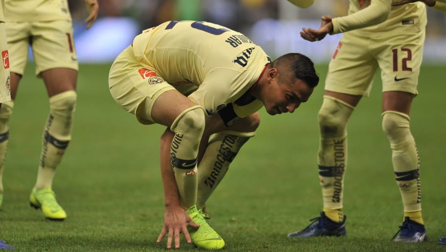 Paul Aguilar of America celebrates after scoring against Toluca during the Mexican Apertura football tournament quarter-final second leg match at the Azteca stadium in Mexico City, on December 2, 2018. (Photo by ROCIO VAZQUEZ / AFP)        (Photo credit should read ROCIO VAZQUEZ/AFP/Getty Images)