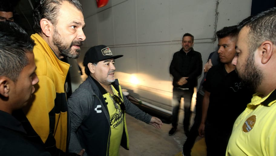 The coach of Mexican second division football team Dorados, Argentine Diego Armando Maradona, arrives for the second leg match of the final against Atletico San Luis, at the Alfonso Lastras Ramirez stadium in San Luis Potosi, Mexico, on December 2, 2018. (Photo by Ulises Ruiz / AFP)        (Photo credit should read ULISES RUIZ/AFP/Getty Images)