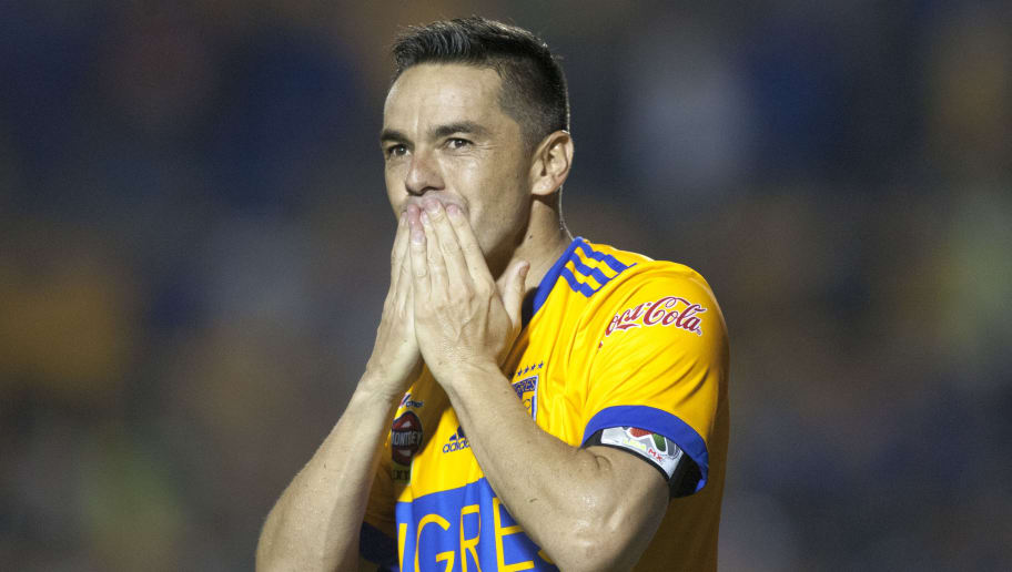 Tigres' Anselmo Vendrechovski celebrates after scoring against Chivas during their Mexican Apertura football tournament match at the Universitario stadium in Monterrey, Mexico, on September 30, 2017. / AFP PHOTO / Julio Cesar AGUILAR        (Photo credit should read JULIO CESAR AGUILAR/AFP/Getty Images)
