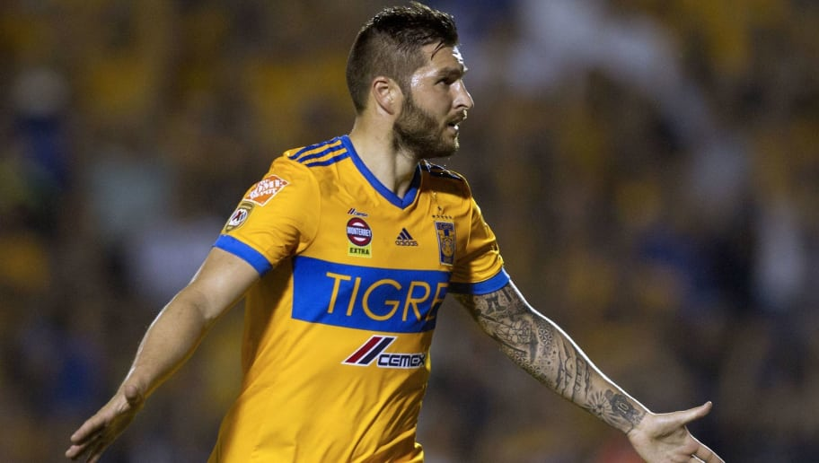 Tigres' Andre Pierre Gignac celebrates after scoring against Santos during the first leg of quarterfinal of the Mexican Clausura 2018 tournament football match at the Universitario stadium in Monterrey, Mexico on May 3, 2018. (Photo by Julio Cesar AGUILAR / AFP)        (Photo credit should read JULIO CESAR AGUILAR/AFP/Getty Images)