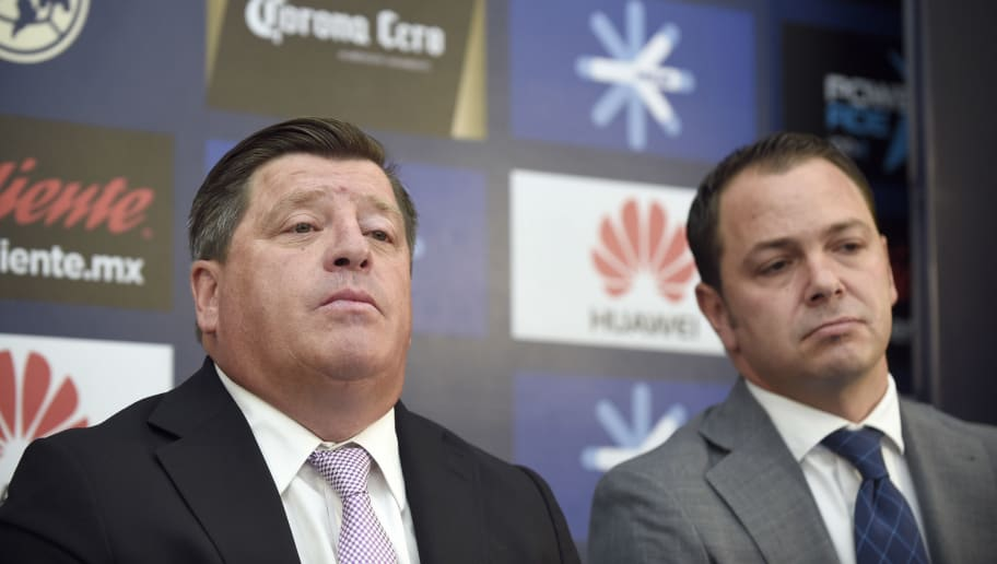 Mexican coach Miguel Herrera (L) speaks next to America's sports director Santiago Banos during his presentation as new coach of America soccer team on May 30, 2017 in Mexico City. / AFP PHOTO / ALFREDO ESTRELLA        (Photo credit should read ALFREDO ESTRELLA/AFP/Getty Images)