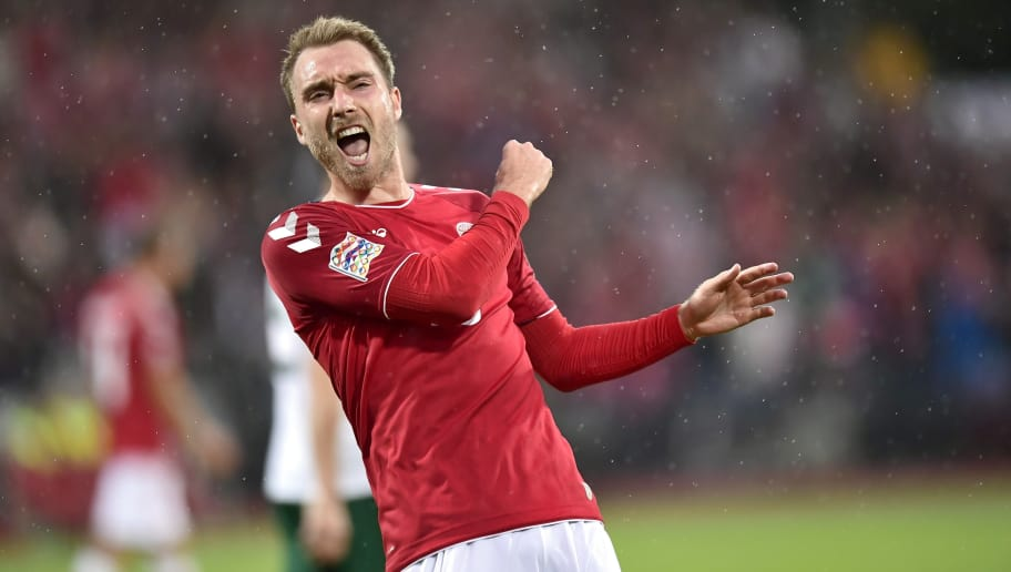 Denmark's Christian Eriksen celebrates scoring the 2-0 during the Nations League football match between Denmark and Wales on September 9, 2018 at Ceres Park Stadium in Aarhus, Denmark. (Photo by Bo Amstrup / Ritzau Scanpix / AFP) / Denmark OUT        (Photo credit should read BO AMSTRUP/AFP/Getty Images)