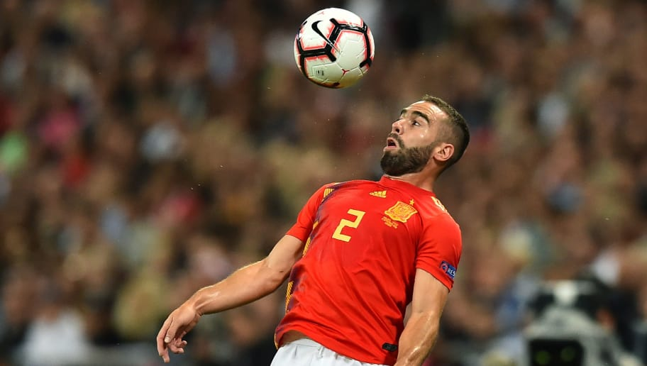 Spain's defender Dani Carvajal controls the ball during the UEFA Nations League football match between England and Spain at Wembley Stadium in London on September 8, 2018. (Photo by Glyn KIRK / AFP) / NOT FOR MARKETING OR ADVERTISING USE / RESTRICTED TO EDITORIAL USE        (Photo credit should read GLYN KIRK/AFP/Getty Images)