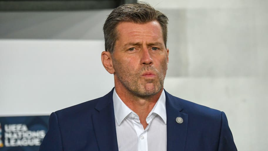 Greece's German coach Michael Skibbe looks on ahead of the Nations League football match between Hungary and Greece on September 11, 2018, in Budapest, Hungary. (Photo by ATTILA KISBENEDEK / AFP)        (Photo credit should read ATTILA KISBENEDEK/AFP/Getty Images)