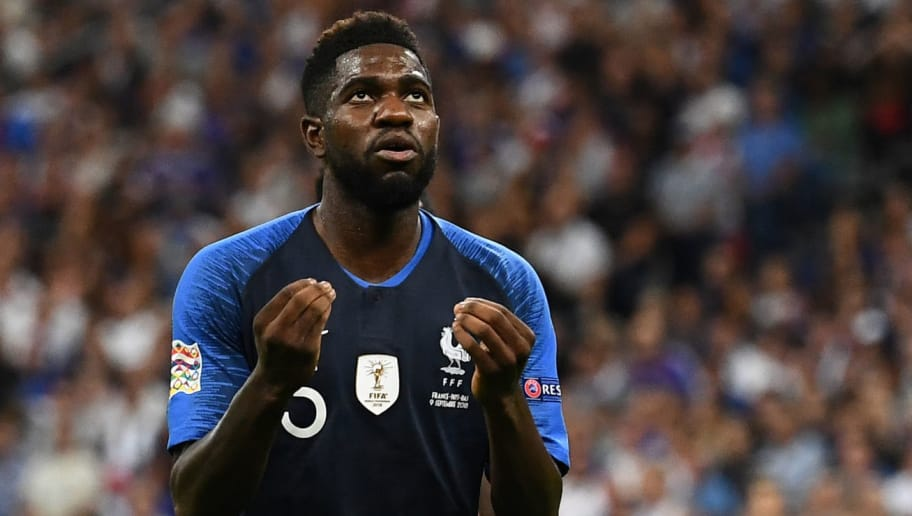 France's defender Samuel Umtiti reacts during the UEFA Nations League football match between France and Netherlands at the Stade de France stadium, in Saint-Denis, northern of Paris, on September 9, 2018. (Photo by Anne-Christine POUJOULAT / AFP)        (Photo credit should read ANNE-CHRISTINE POUJOULAT/AFP/Getty Images)