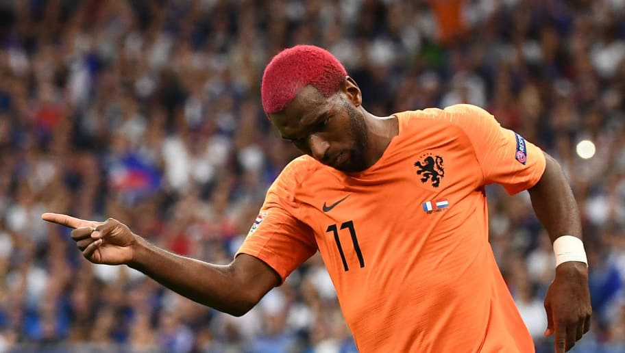 Netherlands' midfielder Ryan Babel celebrates after scoring a goal during the UEFA Nations League football match between France and Netherlands at the Stade de France stadium, in Saint-Denis, northern of Paris, on September 9, 2018. (Photo by Anne-Christine POUJOULAT / AFP)        (Photo credit should read ANNE-CHRISTINE POUJOULAT/AFP/Getty Images)