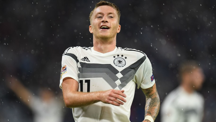 Germany's forward Marco Reus reacts during the UEFA Nations League football match Germany against France on September 6, 2018 in Munich, southern Germany. (Photo by Christof STACHE / AFP)        (Photo credit should read CHRISTOF STACHE/AFP/Getty Images)