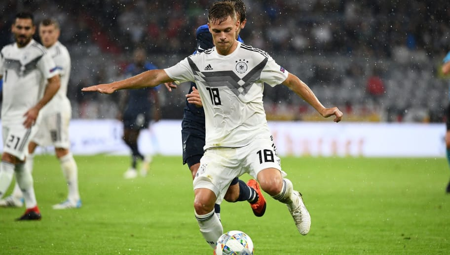 Germany's midfielder Joshua Kimmich runs with the ball during the UEFA Nations League football match Germany against France on September 6, 2018 at the Allianz Arena in Munich, southern Germany. (Photo by FRANCK FIFE / AFP)        (Photo credit should read FRANCK FIFE/AFP/Getty Images)