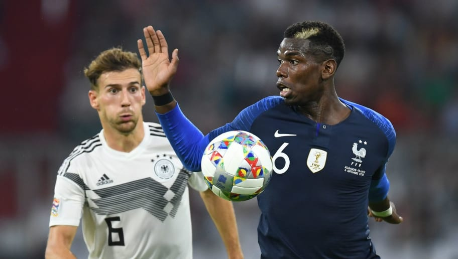Germany's midfielder Leon Goretzka (L) and France's midfielder Paul Pogba vie for the ball during the UEFA Nations League football match Germany against France on September 6, 2018 in Munich, southern Germany. (Photo by Christof STACHE / AFP)        (Photo credit should read CHRISTOF STACHE/AFP/Getty Images)