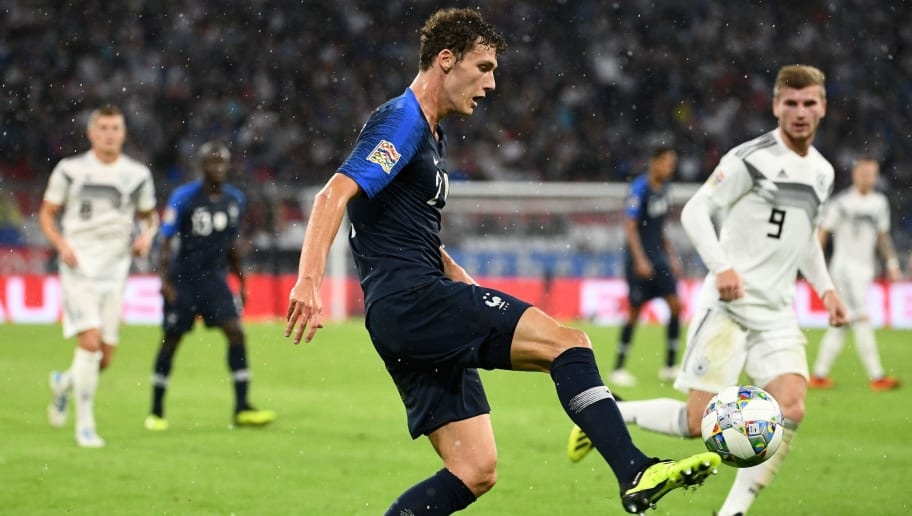 France's defender Benjamin Pavard controls the ball during the UEFA Nations League football match Germany against France on September 6, 2018 at the Allianz Arena in Munich, southern Germany. (Photo by FRANCK FIFE / AFP)        (Photo credit should read FRANCK FIFE/AFP/Getty Images)