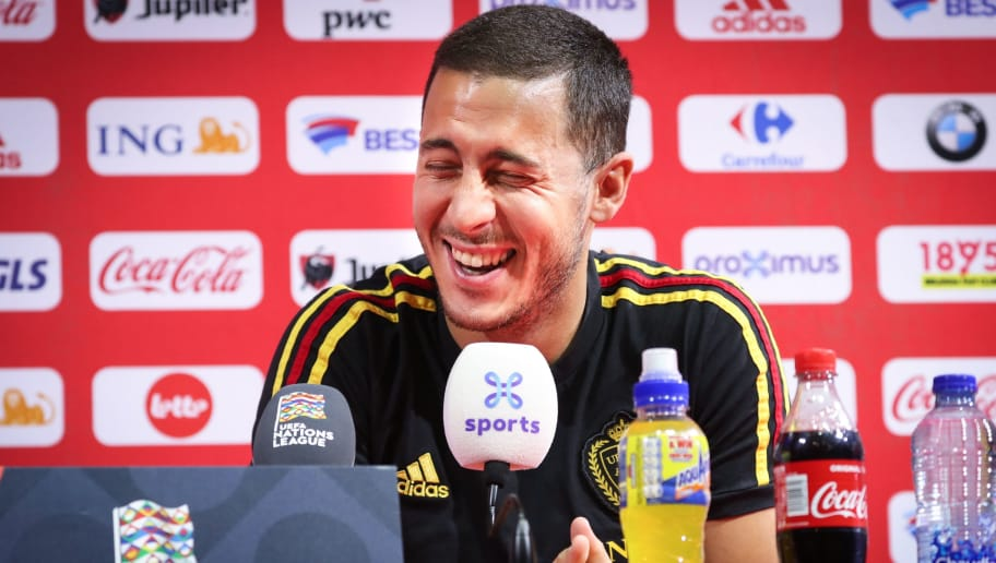 Belgium's footballer Eden Hazard reacts during a press conference of the Belgian national team the Red Devils in Tubize, on October 11, 2018, on the eve of their second game in the UEFA Nations League against Switzerland. - Belgium plays their second game in the Nations League against Switzerland on Friday. (Photo by VIRGINIE LEFOUR / various sources / AFP) / Belgium OUT        (Photo credit should read VIRGINIE LEFOUR/AFP/Getty Images)