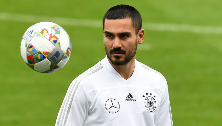 Germany's midfielder Ilkay Gundogan stretches during a training session of the German national football team in Munich, southern Germany, on September 3, 2018 ahead of their UEFA Nations League against France. - Germany will play against France in the UEFA Nations League in Munich, southern Germany, on September 6, 2018. (Photo by Christof STACHE / AFP)        (Photo credit should read CHRISTOF STACHE/AFP/Getty Images)