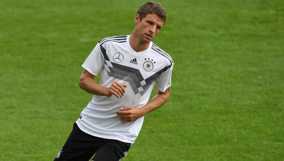 Germany's midfielder Thomas Mueller takes part in the training session of the German national football team in Munich, southern Germany, on September 4, 2018. - Germany will play in the UEFA Nations League against the France in Munich, southern Germany, on September 6, 2018. (Photo by Christof STACHE / AFP)        (Photo credit should read CHRISTOF STACHE/AFP/Getty Images)