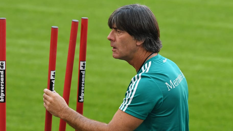 Germany's head coach Joachim Loew oversees the training session of the German national football team in Munich, southern Germany, on September 5, 2018. - Germany will play in the UEFA Nations League against the France in Munich, southern Germany, on September 6, 2018. (Photo by Christof STACHE / AFP)        (Photo credit should read CHRISTOF STACHE/AFP/Getty Images)