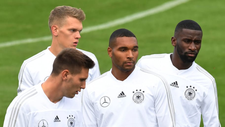 (L-R) Germany's defender Niklas Suele, Germany's defender Matthias Ginter, Germany's defender Jonathan Tah and Germany's defender Antonio Ruediger take part in a training session of the German national football team in Munich, southern Germany, on September 3, 2018 ahead of their UEFA Nations League against France. - Germany will play against France in the UEFA Nations League in Munich, southern Germany, on September 6, 2018. (Photo by Christof STACHE / AFP)        (Photo credit should read CHRISTOF STACHE/AFP/Getty Images)