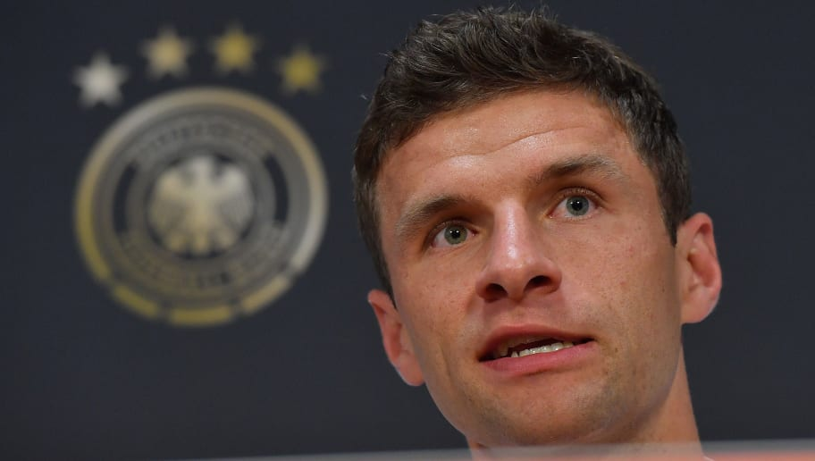 German forward Thomas Muller gives a press conference a day before the UEFA Nations League football match between Netherlands and Germany at the Johan Cruijff Arena in Amsterdam on October 12, 2018. (Photo by Emmanuel DUNAND / AFP)        (Photo credit should read EMMANUEL DUNAND/AFP/Getty Images)