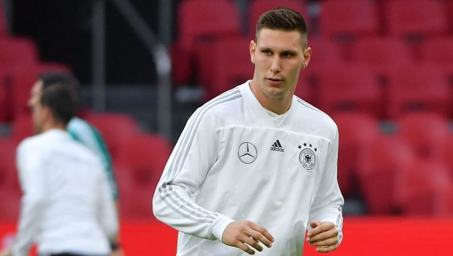German defender Niklas Sule takes part in a training session a day before the UEFA Nations League football match between the Netherlands and Germany at the Johan Cruijff Arena in Amsterdam on October 12, 2018. (Photo by Emmanuel DUNAND / AFP)        (Photo credit should read EMMANUEL DUNAND/AFP/Getty Images)