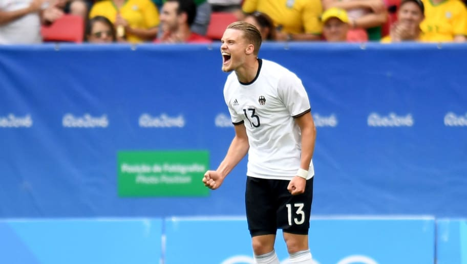 Germany 's player Philipp Max celebrates after scoring against Portugal during the Rio 2016 Olympic Games Quarter-finals men's football match Portugal vs Germany, at the Mane Garrincha Stadium in Brasilia on August 13, 2016. / AFP / EVARISTO SA        (Photo credit should read EVARISTO SA/AFP/Getty Images)