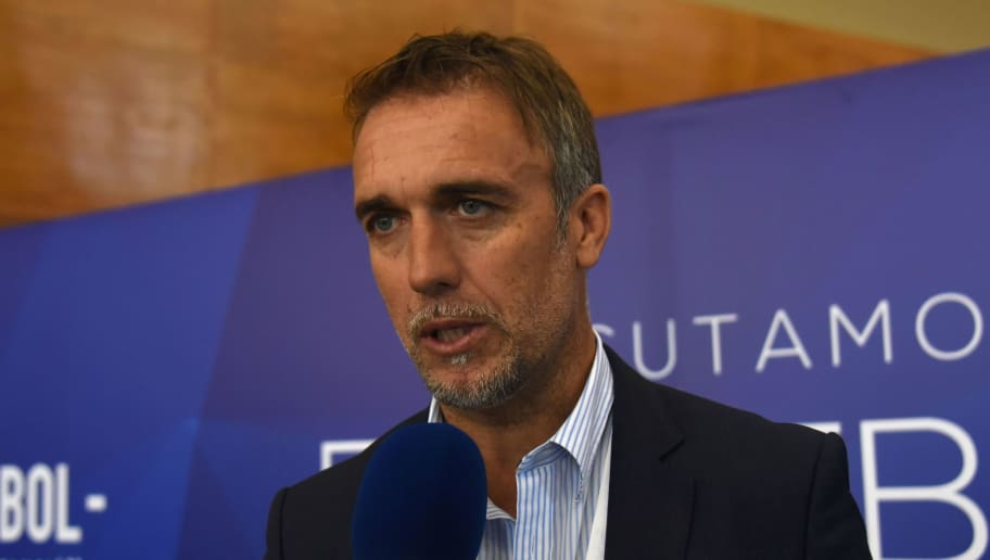 Argentine former football star Gabriel Batistuta speaks to the pres at the South American Football Confederation's (Conmebol) headquarters in Luque, Paraguay, on May 17, 2017 during a meeting to discuss strategies about how the new football should be developed in the region. / AFP PHOTO / Norberto DUARTE        (Photo credit should read NORBERTO DUARTE/AFP/Getty Images)