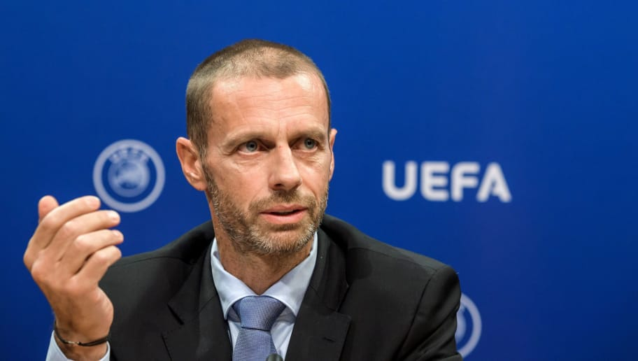 UEFA president Aleksander Ceferin holds  a press conference on September 20, 2017 at the UEFA headquarters in Nyon. Ceferin has called for greater support from Europe's political leaders to help introduce measures to regulate the transfer market on the continent. / AFP PHOTO / Fabrice COFFRINI        (Photo credit should read FABRICE COFFRINI/AFP/Getty Images)