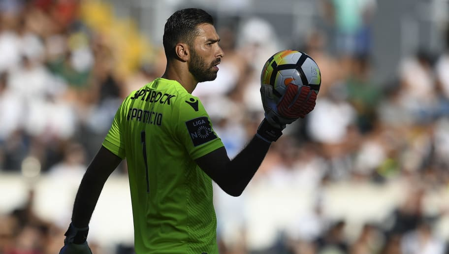 Sporting's goalkeeper Rui Patricio holds the ball during the Portuguese league football match SC Vitoria vs Sporting CP at the Afonso Henriques stadium in Guimaraes on August 19, 2017. / AFP PHOTO / FRANCISCO LEONG        (Photo credit should read FRANCISCO LEONG/AFP/Getty Images)