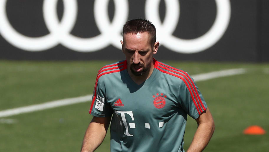 FC Bayern Munich's French midfielder Franck Ribery takes part with other teammates in a training session during their winter training camp at the Aspire Academy for Sports Excellence in the Qatari capital Doha on January 5, 2019. (Photo by KARIM JAAFAR / AFP)        (Photo credit should read KARIM JAAFAR/AFP/Getty Images)