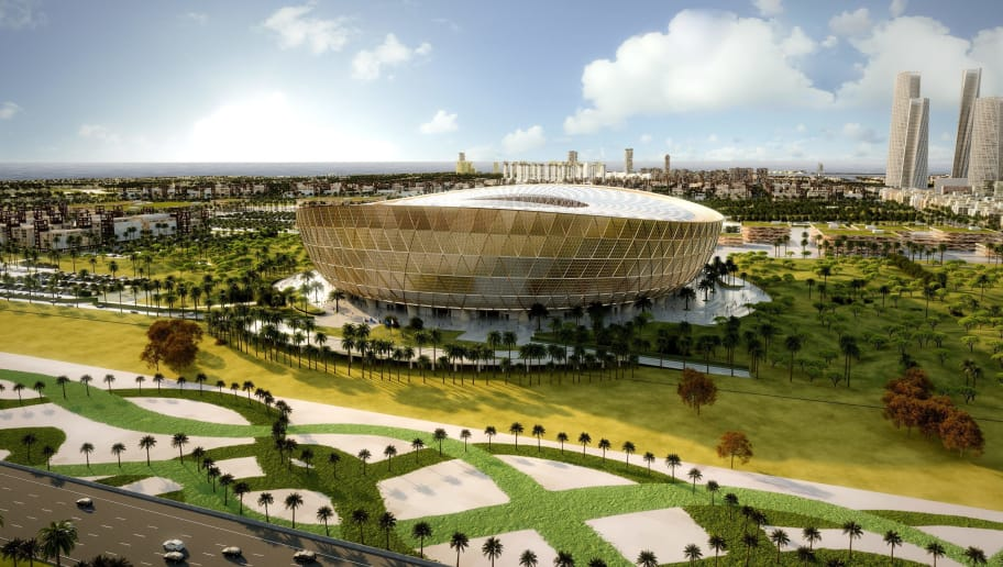 This handout picture released by the Supreme Committee for Delivery and Legacy shows a computer generated image of the Lusail stadium for the world cup 2022 during the unveiling of its design in Doha on December 15, 2018. - Qatar on Saturday revealed the design for the stadium that will in four years' time host the first ever World Cup finals game to be played in the Middle East. The 80,000-seat Lusail Stadium -- also the venue for the 2022 World Cup final -- was revealed in an elaborate ceremony attended by the country's ruler Sheikh Tamim bin Hamad al-Thani and other dignatories, including the United Nations' secretary-general, Antonio Guterres. Hassan al-Thawadi, the head of the country's World Cup organising body, the Supreme Committee for Delivery & Legacy, called the unveiling a 'significant milestone'. (Photo by - / Qatars Supreme Committee for Delivery and Legacy / AFP) / RESTRICTED TO EDITORIAL USE - MANDATORY CREDIT 'AFP PHOTO / HO / SUPREME COMMITTEE FOR DELIVERY AND LEGACY 'NO MARKETING NO ADVERTISING CAMPAIGNS - DISTRIBUTED AS A SERVICE TO CLIENTS / XGTY        (Photo credit should read -/AFP/Getty Images)