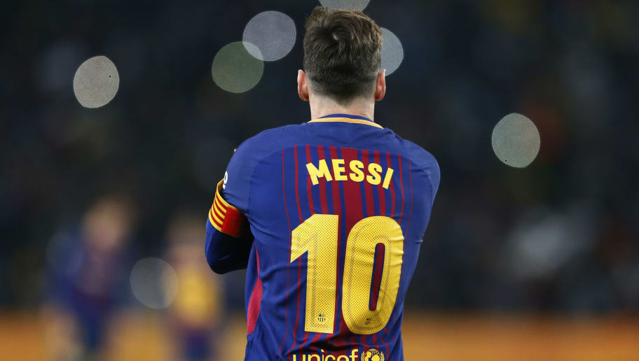Barcelona forward Lionel Messi watches the pitch during their friendly match Mamelodi Sundowns vs Barcelona FC for the Mandela Centenary Trophy on May 16, 2018 at FNB Soccer Stadium in Johannesburg. (Photo by PHILL MAGAKOE / AFP)        (Photo credit should read PHILL MAGAKOE/AFP/Getty Images)