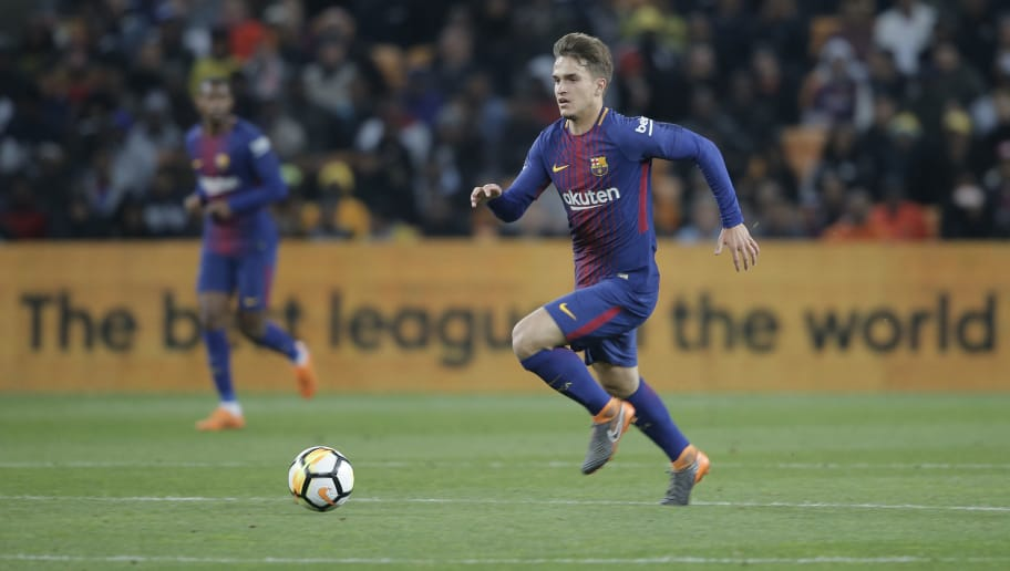 Barcelona Denis Suarez move forward with the ball during their friendly match Mamelodi Sundowns vs Barcelona FC for the Mandela Centenary Trophy on May 16, 2018 at FNB Soccer Stadium in Johannesburg. (Photo by GIANLUIGI GUERCIA / AFP)        (Photo credit should read GIANLUIGI GUERCIA/AFP/Getty Images)