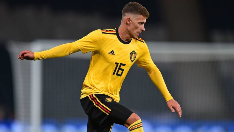 Belgium's midfielder Thorgan Hazard passes the ball during the International friendly football match between Scotland and Belgium at Hampden Park in Glasgow, Scotland on September 7, 2018. - Belgium won the game 4-0. (Photo by Andy BUCHANAN / AFP)        (Photo credit should read ANDY BUCHANAN/AFP/Getty Images)