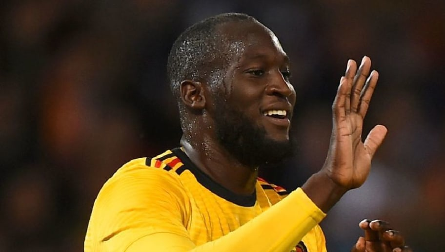 Belgium's striker Romelu Lukaku (L) celebrates with Belgium's midfielder Eden Hazard (C) and Belgium's midfielder Thorgan Hazard after scoring the opening goal of the International friendly football match between Scotland and Belgium at Hampden Park in Glasgow, Scotland on September 7, 2018. (Photo by Andy BUCHANAN / AFP)        (Photo credit should read ANDY BUCHANAN/AFP/Getty Images)