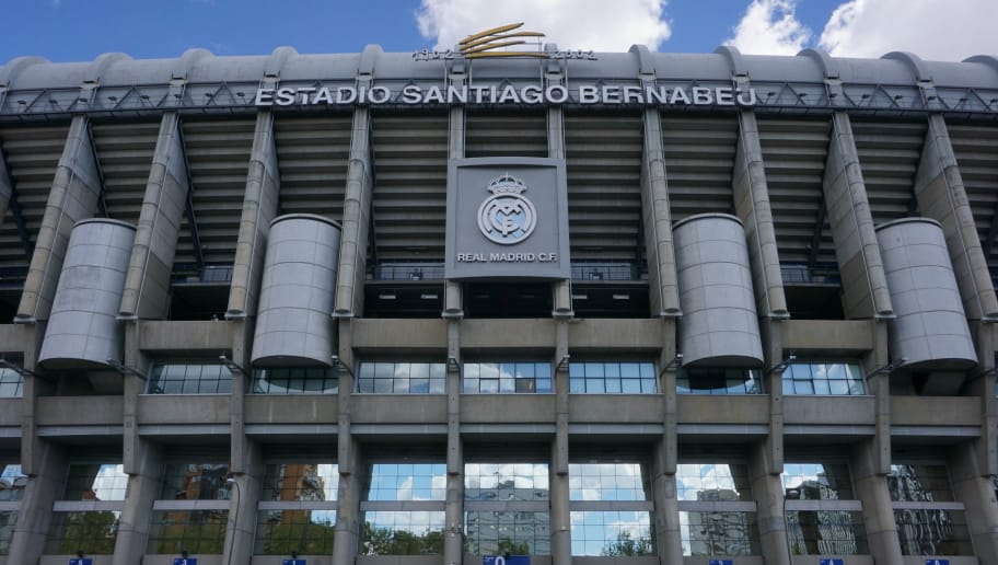 A picture taken on May 1, 2018 shows an outside view of the Estadio Santiago Bernabeu football stadium in Madrid, Spain. -  (Photo by CHRISTOF STACHE / AFP)        (Photo credit should read CHRISTOF STACHE/AFP/Getty Images)