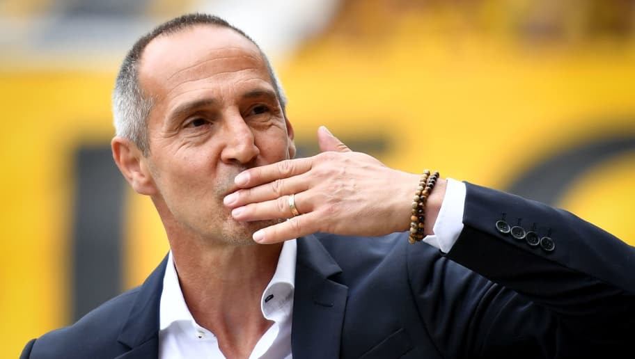 Young Boys' Austrian head coach Adi Hutter gestures during the Swiss Football Cup final football match between FC Zurich and BSC Young Boys at the Stade de Suisse stadium, in Bern, on May 27, 2018 (Photo by Fabrice COFFRINI / AFP)        (Photo credit should read FABRICE COFFRINI/AFP/Getty Images)