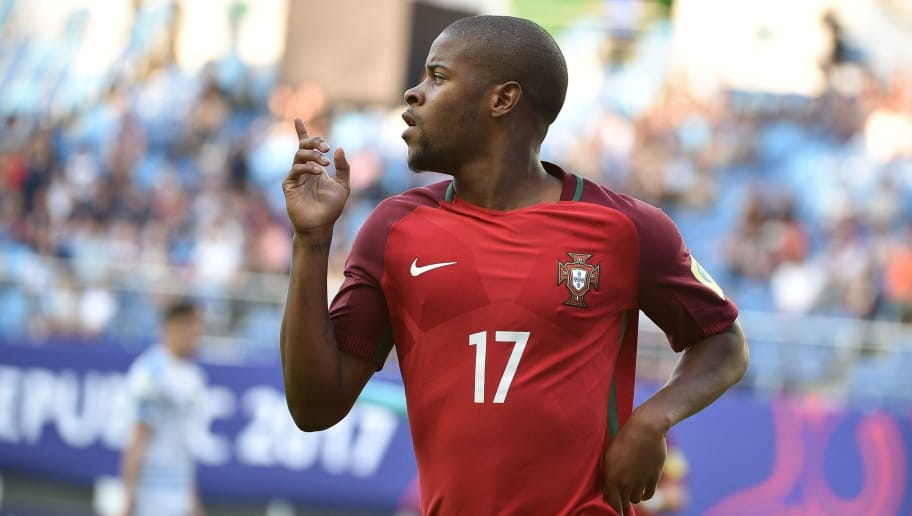 Portugal's forward Xande Silva celebrates after scoring during their U-20 World Cup quarter-final football match between Portugal and Uruguay in Daejeon on June 4, 2017.  / AFP PHOTO / KIM DOO-HO        (Photo credit should read KIM DOO-HO/AFP/Getty Images)
