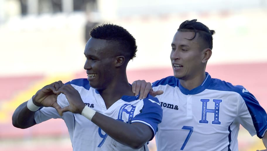 Honduras' Rubilio Castillo (L) celebrates after scoring against El Salvador during  the Central American Football Union (UNCAF) tournament in Panama City on January 15, 2017. / AFP / RODRIGO ARANGUA        (Photo credit should read RODRIGO ARANGUA/AFP/Getty Images)