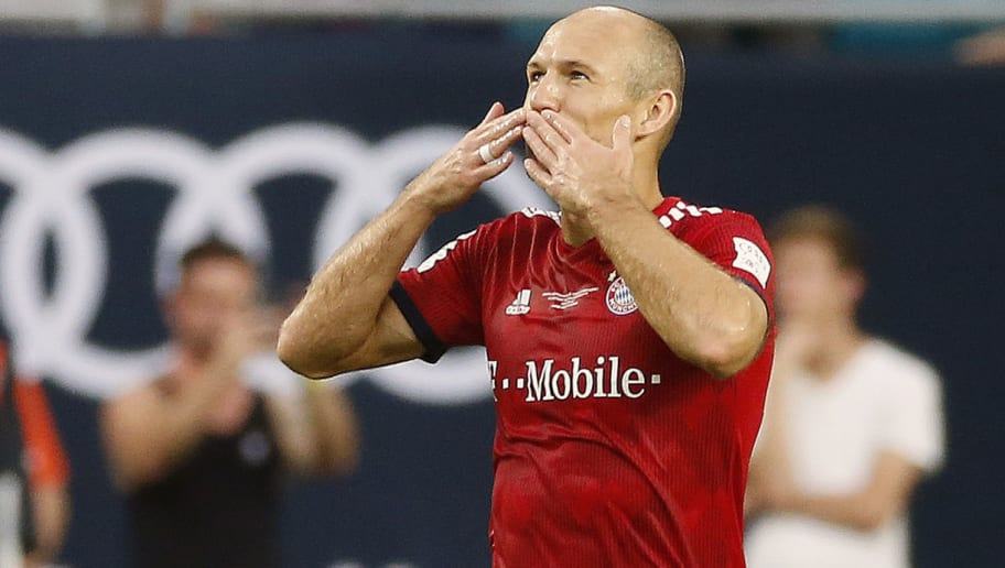 Bayern Munich's Arjen Robben celebrates his goal during the International Champions Cup friendly match between FC Bayern Munich and Manchester City at Hard Rock Stadium in Miami, Florida, on July 28, 2018. (Photo by RHONA WISE / AFP)        (Photo credit should read RHONA WISE/AFP/Getty Images)