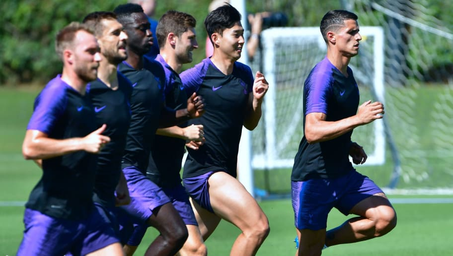 Tottenham Hotspur players (L to R) Christian Eriksen, Fernando Llorente, Davinson Sanchez, Ben Davies , Son Heung-Min and Erik Lamela run during a training session at Loyola Marymount University in Los Angeles, California on July 23, 2018. - Tottenham Hotspur will play an international Champions Cup match against AS Roma of Italy's Serie A on July 25 in San Diego. (Photo by Frederic J. BROWN / AFP)        (Photo credit should read FREDERIC J. BROWN/AFP/Getty Images)